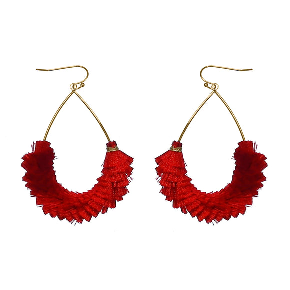 Overlapping Threaded Fringe Teardrop Earrings