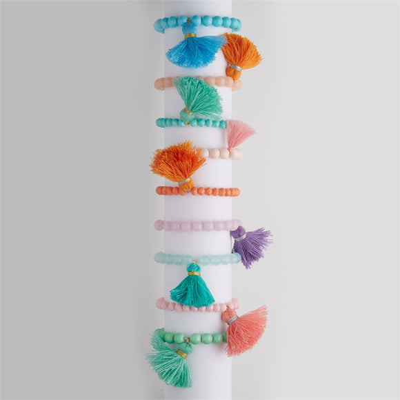 Stretchy Beaded Tassel Bracelet [All Colors]