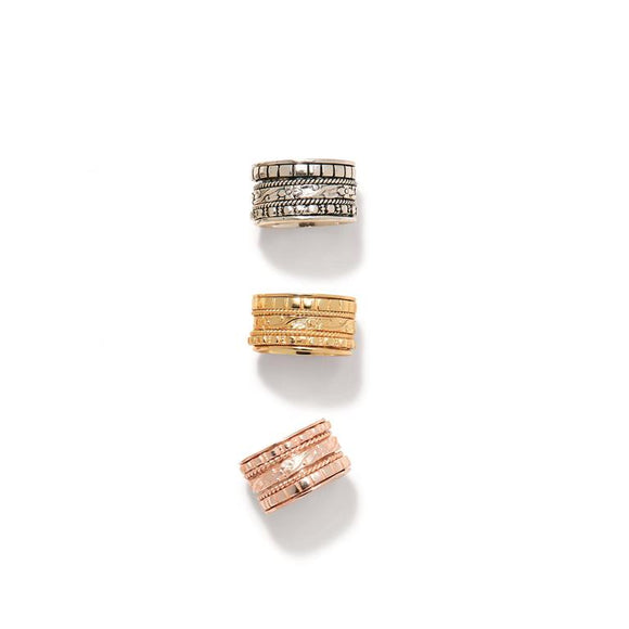 Rose Silver Gold Rotating Wide Rings [3 Styles]