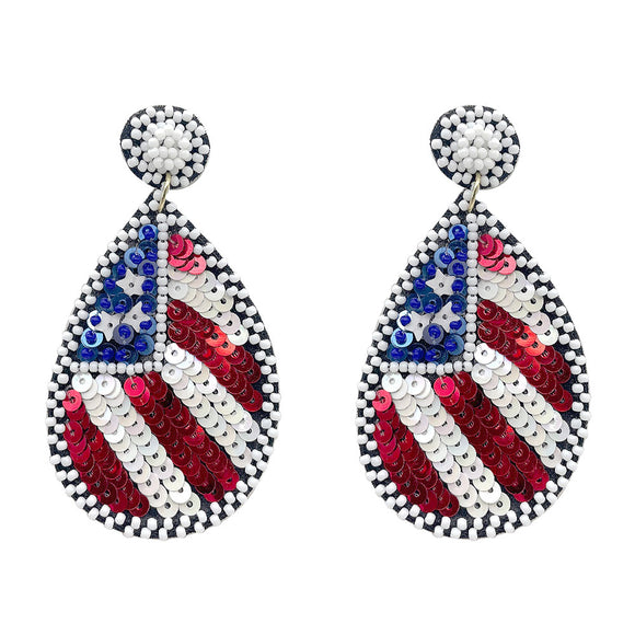 'Merica Beaded Teardrop Earrings