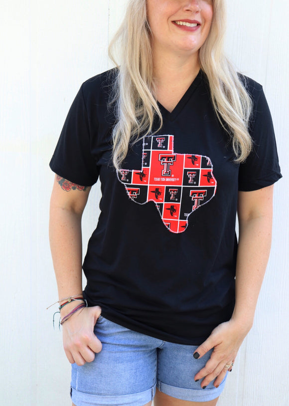Texas Tech V Neck Tee [Black]