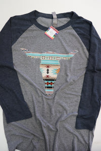 Sedona Navy/Grey Baseball Tee
