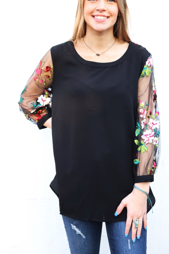 Last Call Esmeralda Embroidered Sheer Sleeve Top