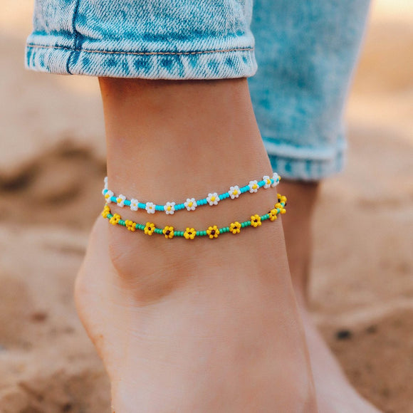 Pura Vida Flower Beaded Anklet