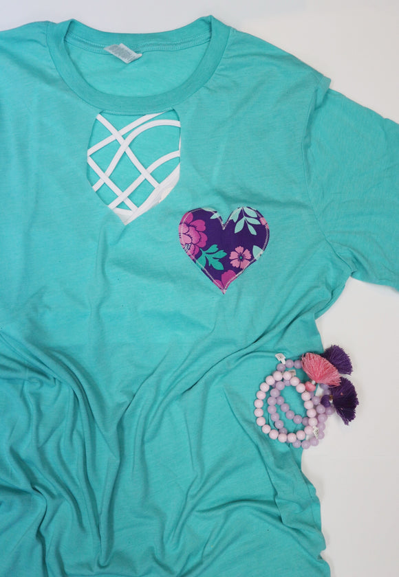 Seagreen Mint/Purple Heart Key Hole Tee