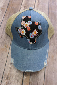 Black Daisy Floral Trucker Hat