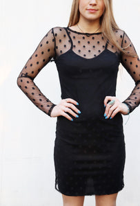 Last Call Polka Dot Little Black Mesh Dress