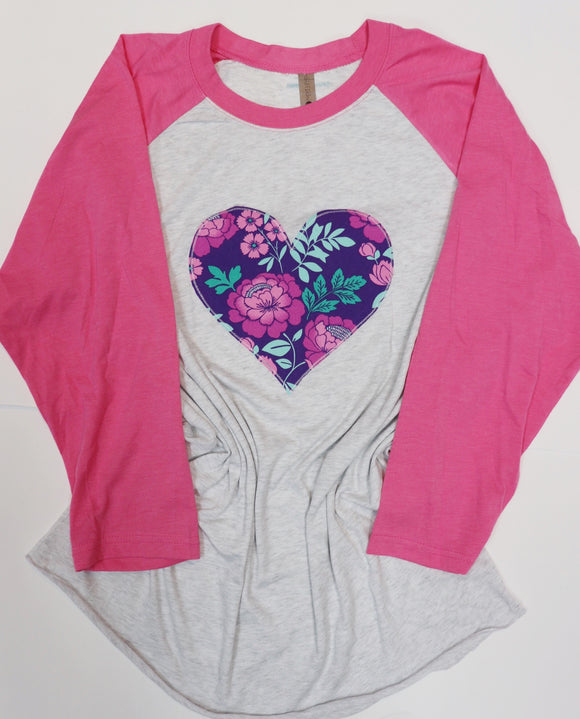 Purple/Mint Floral Heart Raglan Tee