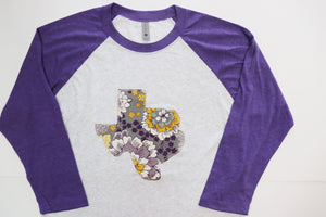 Purple & Yellow Floral Raglan Tee