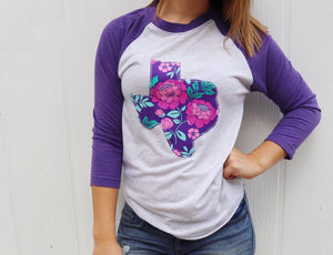 Purple Floral Baseball Tee