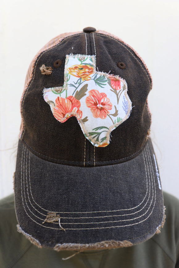 Coral Floral Dirty Trucker Hat