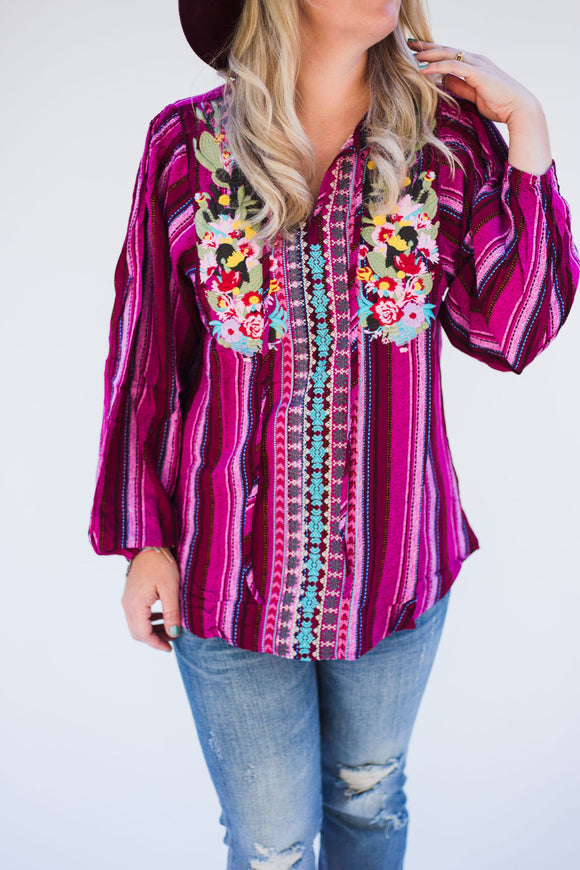 Queen Size Pablo Plum Embroidered Striped Top