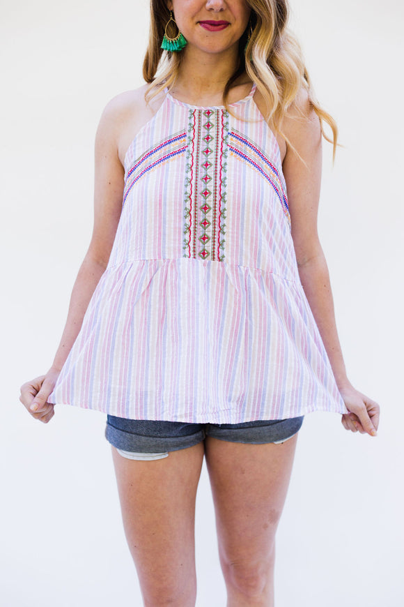 Escobares Embroidered Babydoll Top [Pink]