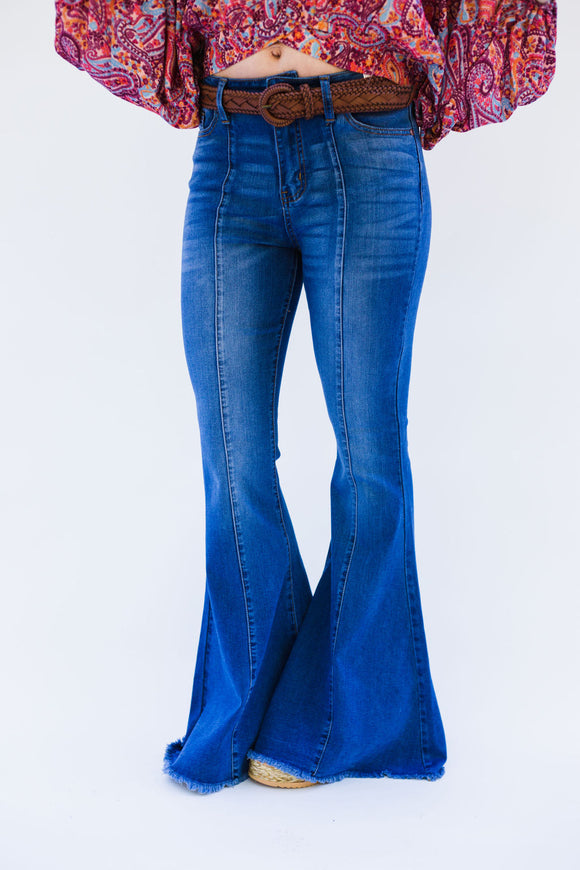 Middle Seam Raw Edge Flare Jeans