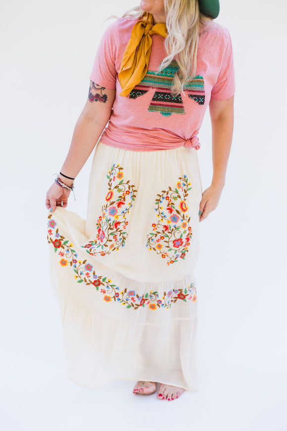 Medina Embroidered Maxi Skirt [Ivory]