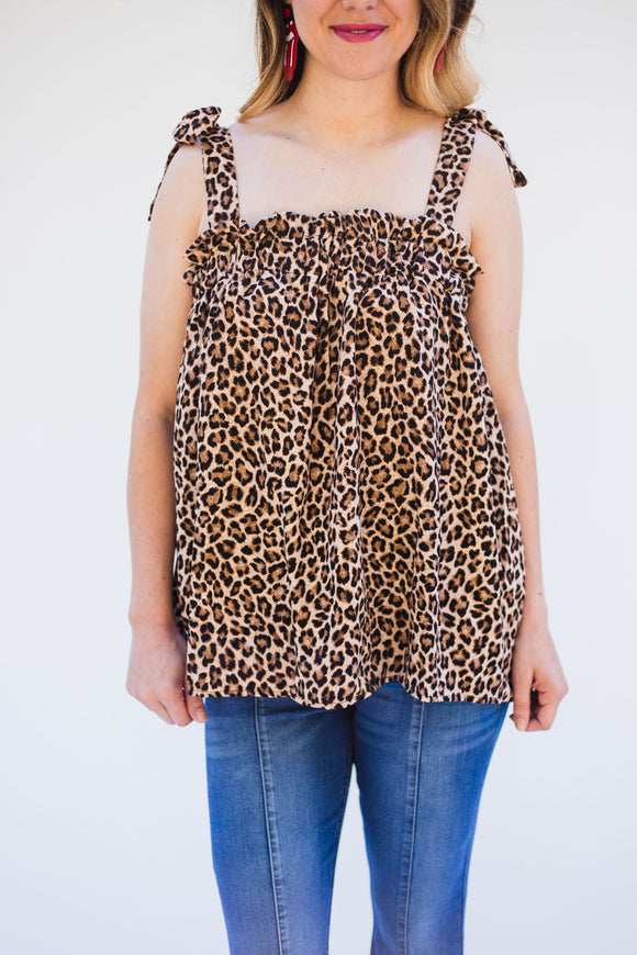 Star Harbor Strappy Tie Top [Leopard]