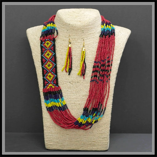 Seed Beed Collar Necklace & Earring Set
