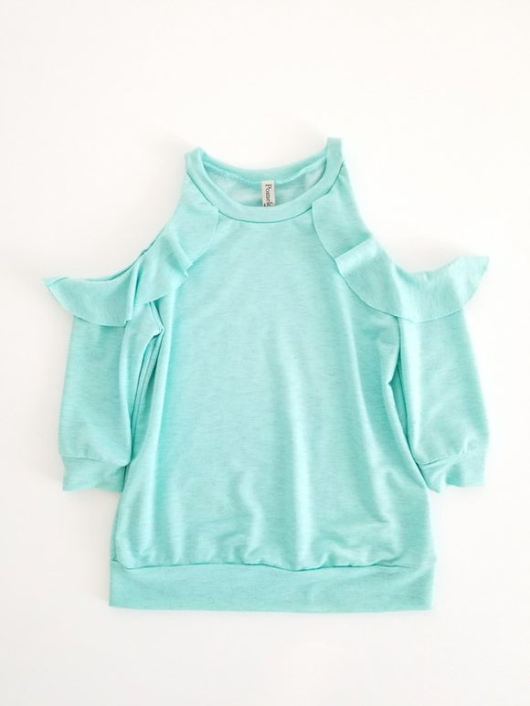 Girl's Ruffle Sleeve Cold Shoulder Sweater