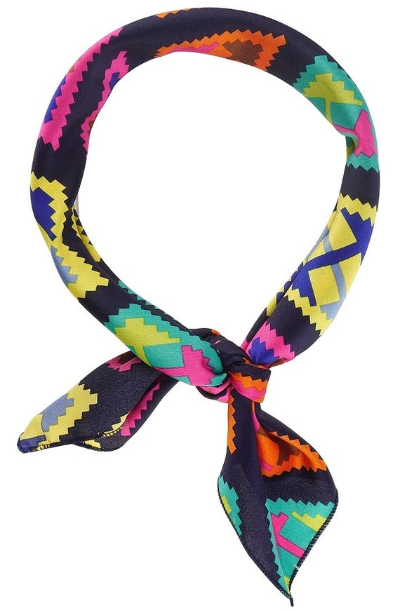 Neon Aztec Silk Neckerchief