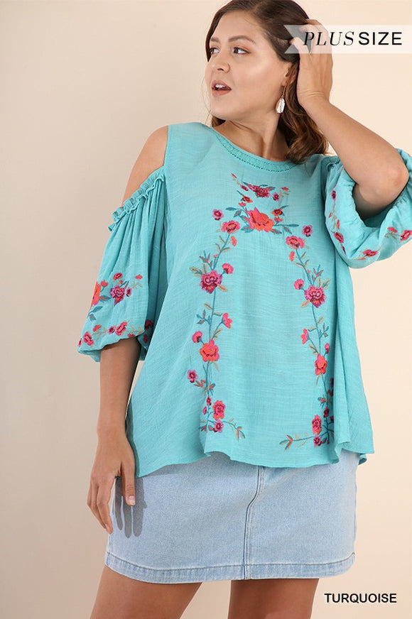 Last Call Queen Size Juliet Cold Shoulder Top [Turquoise]