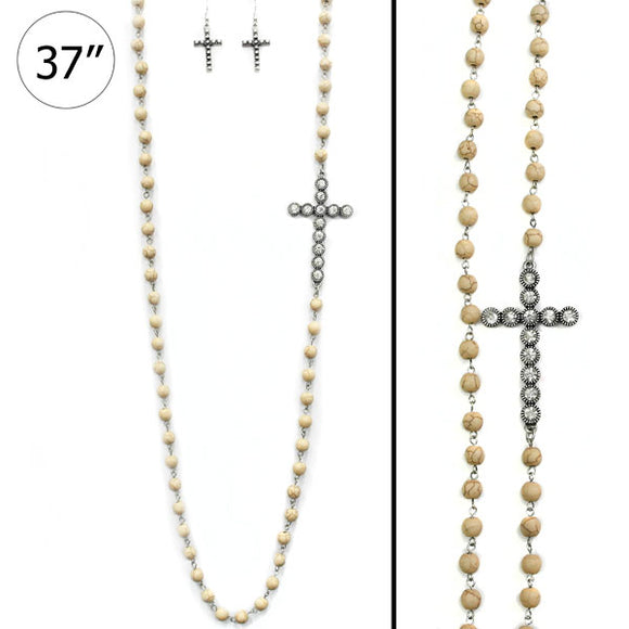 Studded Cross Necklace Set