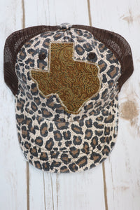 Tooled Leather Trucker Hat [Leopard]