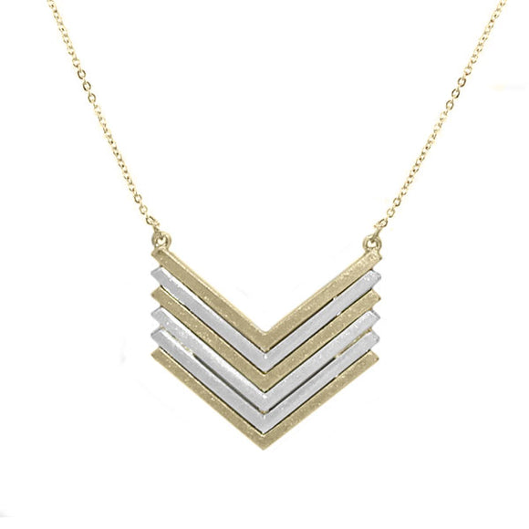 Silver and Gold V Shape Necklace
