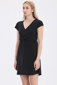 Thrall Twist Front Mini Dress [Black]