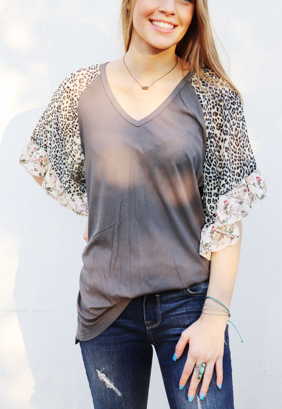 Leopard Floral Ruffle Sleeve Top