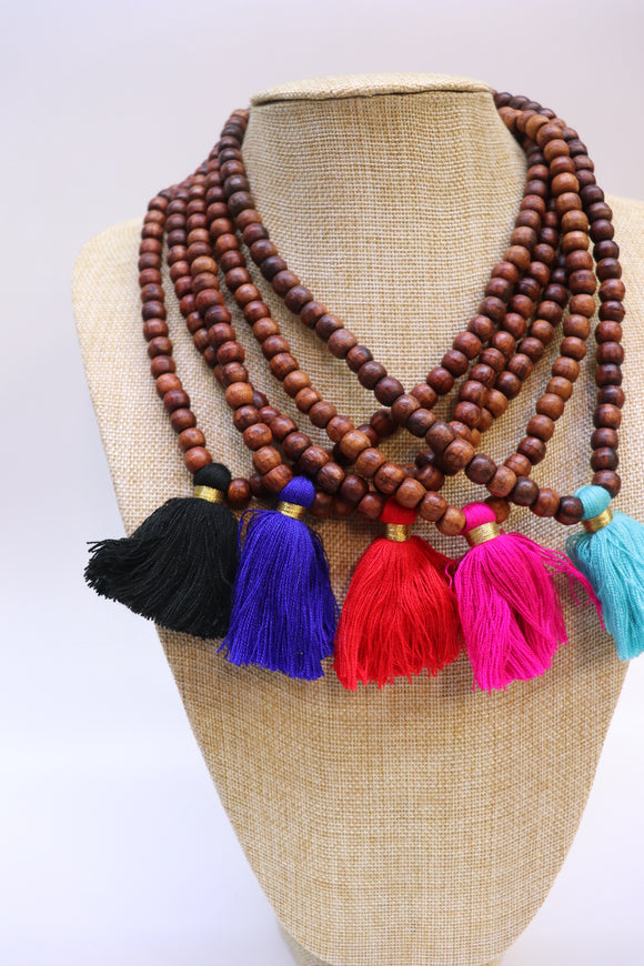 Wood Bead Stretchy Tassel Necklace