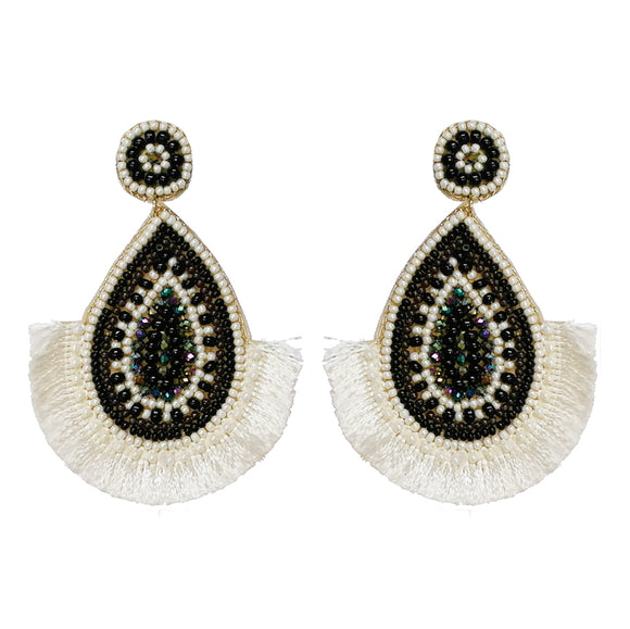 Evil Eye Fringe Beaded Earrings