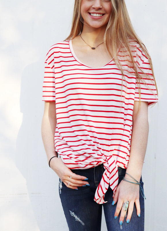 Peppermint Striped Knot Top