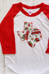 Christmas Truck Kid's Baseball Tee