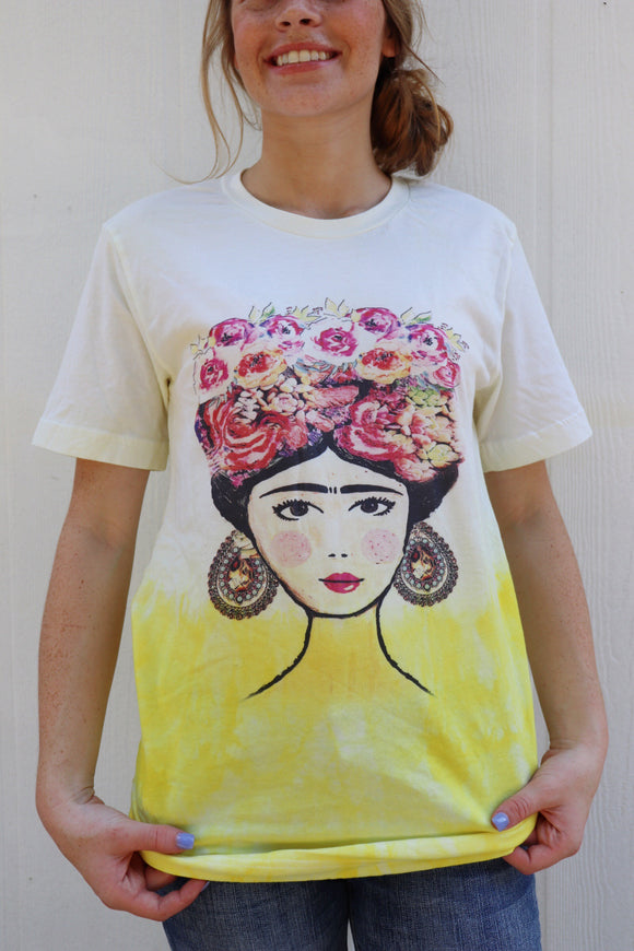 Floral Frida Yellow Dipped Tee