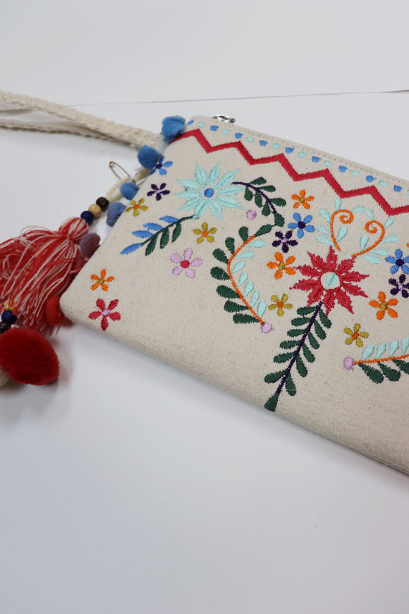 Last Call Embroidered Canvas Clutch