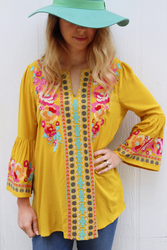 Marigold Embroidered Bell Sleeve Top