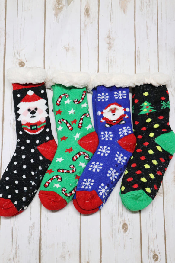 Santa's Sherpa Lined Christmas Socks [6 Colors]