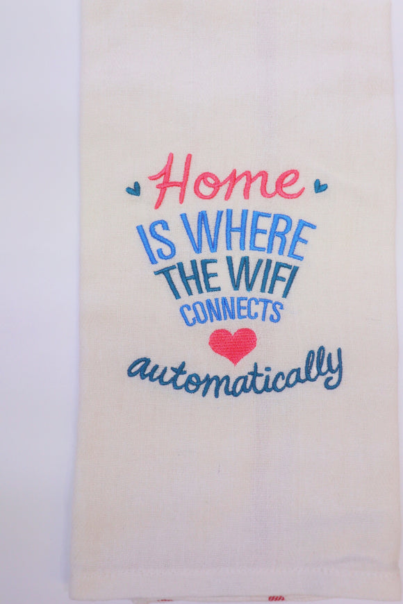 Last Call Home is Where the WiFi Is Tea Towel