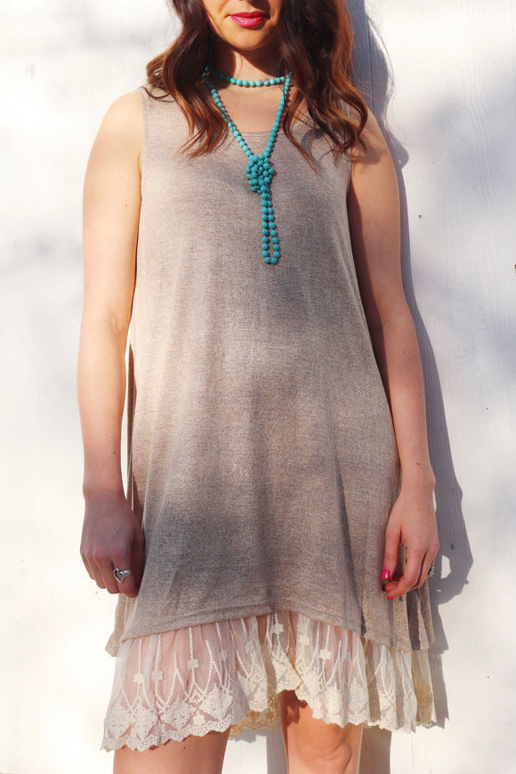 Last Call Lily Lace Edge Dress [Mocha]