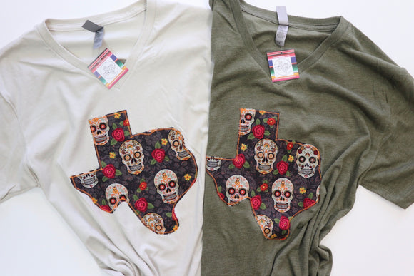 Sugar Skull Texas Tee [Army/Oatmeal]