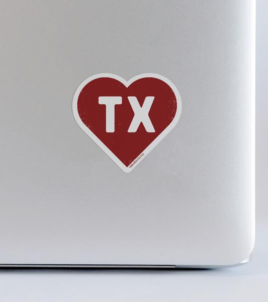 Texas Heart Sticker
