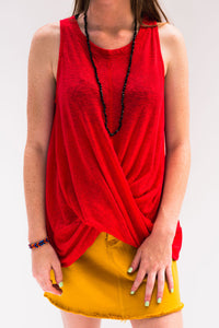 Last Call Troup Twisted Front Tank Top [Red]