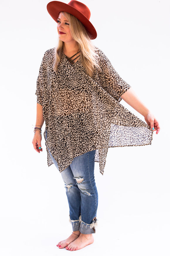 Lancaster Leopard Tunic Top [Stone]
