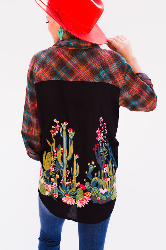 Cactus Blossom Embroidered Flannel