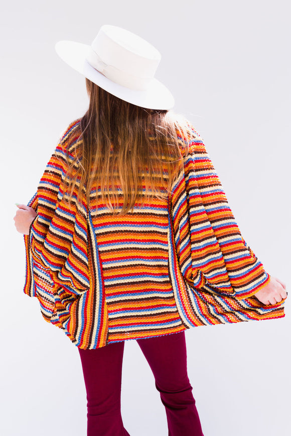 Retro Textured Stripe Cardigan