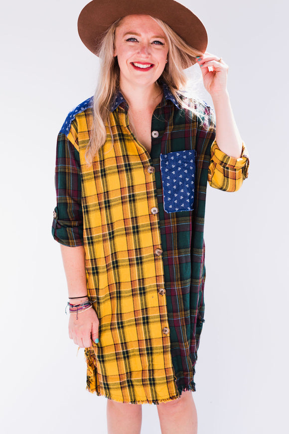 Plaid Patterned Patchwork Tunic Dress