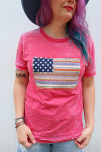 Verano Serape Flag Acid Wash Tee