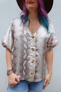 Last Call Stacy Snakeskin Button Down Top