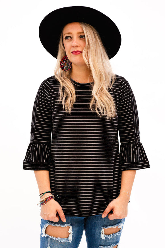 Toco Textured Sparkle Stripe Top