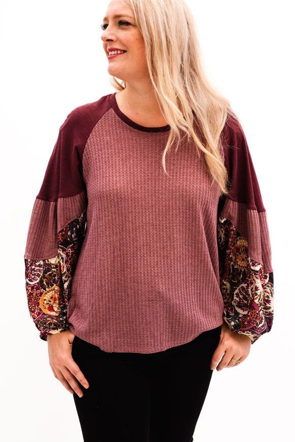 Fulshear Floral Mix Puff Sleeve Top [Wine]